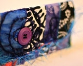 Embellished Fabric Wallet - Purple, Red, Blue, and Black and White