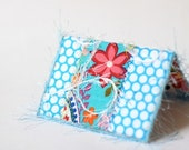 Spring Business Card Holder - ID, Reward Card, Mini Wallet - Teal aqua polka dots and Red Flowers