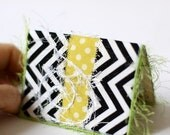 Business Card Holder - ID, Reward Card, Mini Wallet - Yellow, Black and White Chevron