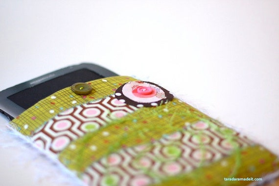 Kindle, Kindle Fire or Nook Cover - Olive Green and Pink