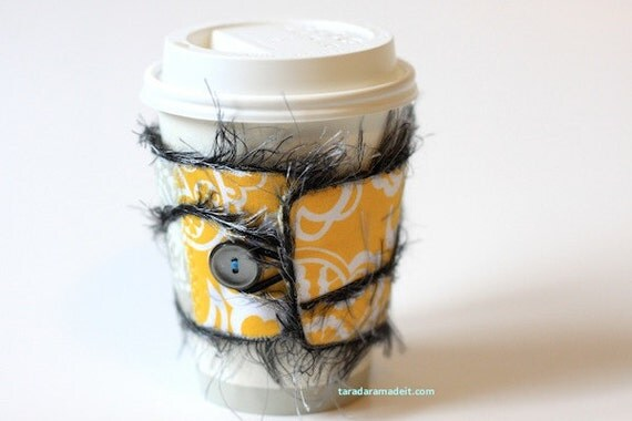 Reusable Coffee Cup Cozy - Yellow and Grey