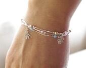 Charm Bracelet with Two Child Charms, Opal and Crystal Elements, Elegant Bracelet, New Mother Bracelet