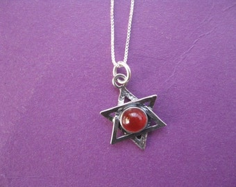 Star of David Necklace, Sterling silver Star of David with Pretty Gemstone Bead, Judaica Jewelry Star of David Necklace Carnelian Bead