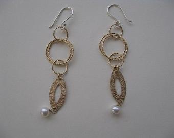 Gold Earrings, Hoop Earrings, Bridal Jewelry, Dangle Earrings with Pearl Beads, Long Gold Earrings, Gold Hoops, Elegant Earrings