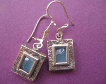 Sterling Silver Dangle earrings,Gemstone earrings,Dainty Blue Earrings, Simple Everyday earrings, Aqua Earrings Square Crystal