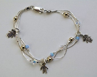Charm Bracelet with Two Child Charms, Opal and Crystal Elements, Elegant Bracelet, New Mother Bracelet