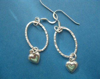 Silver Heart Earrings, Dangle Earrings, Silver Circle Earrings, Heart Charm Earrings, Teen Earrings, Sterling Silver Charm