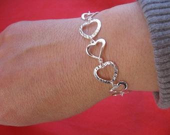 Heart Bracelet, Sterling Silver Heart Bracelet, Link Chain, Love Charms Sterling Silver Heart Charm, Dainty Silver Bracelet