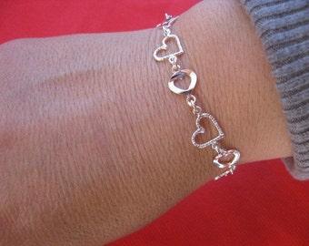 Sterling Silver Heart Charm Bracelet, Elegant Jewelry, Heart Pendant, Mother of the Bride Gift