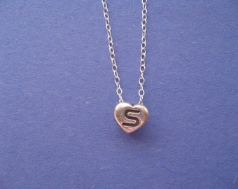 Inital Necklace, Letter S Charm, Heart charm Necklace, Letter S Heart Shape Necklace Silver Personalized Charm