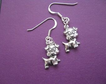 Puppy Earrings, Silver Dog Earrings,Silver Dog Charm, Cute Earrings, teenager earrings, Children Jewelry, Everyday Earrings
