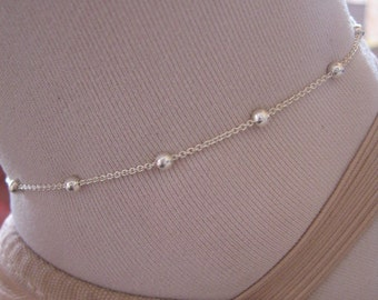 Silver Anklet, Delicate Anklet, Ball and Chain Ankle Bracelet, Sterling Silver Dainty Ankle Chain