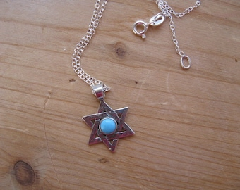 Star of David Necklace, Turquoise Bead Pendant, Pretty Jewish Star Turquoise, Sterling Silver Star and Necklace, Turquoise Pendant