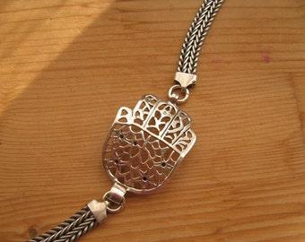 Silver Hamsa Hand, Sideways Hamsa Bracelet, Silver Bracelet, Large Filigree Hamsa Hand Charm Bracelet,Sterling Silver Oxidized Bracelet