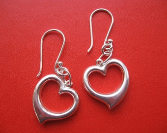 Modern Heart Earrings, Dangle Earrings, Heart Charm Jewelry, Heart Earrings Silver Dangling Sweet 16 Gift Classic Hearts