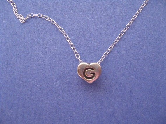 silver initial heart necklace charm necklace letter g charm personalized letter g necklace