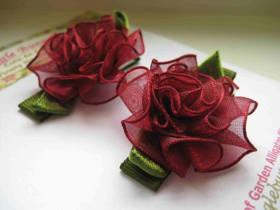 Set of Holiday  Cranberry Organza Flower Floral  Hair Clips