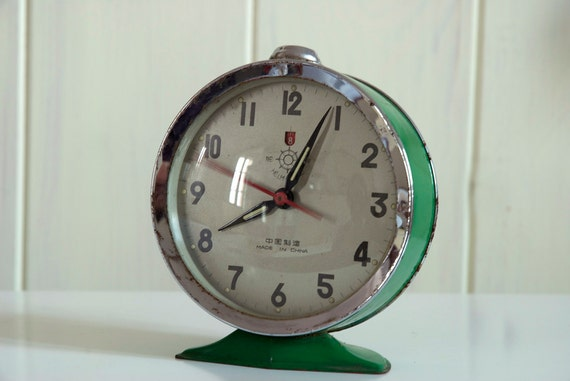 helm brand vintage green alarm clock