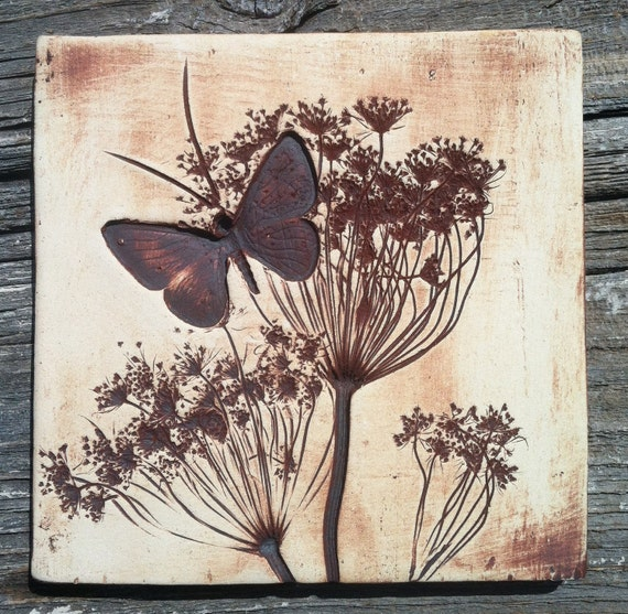 """Queen Anne's Lace & Butterfly 6""""x6"""" Tile"""