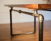 Industrial Black Walnut Table with Pipe Base