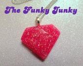 Diamonds Are A Girls Best Friend Necklace - Hot Pink Bling - Glitter Resin