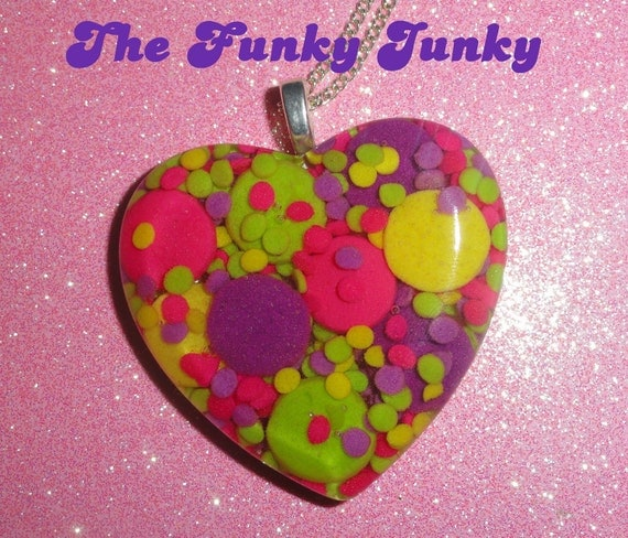 Candy Confetti - Resin Sprinkle Heart Pendant - Neon Pink, Lime Green, Yellow & Purple - Large