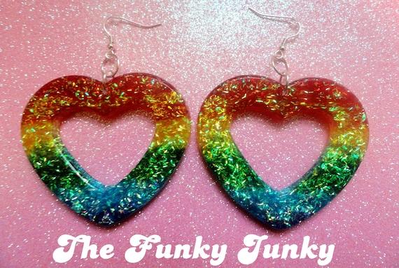 Rainbow Resin Glitter Heart Hoop Earrings