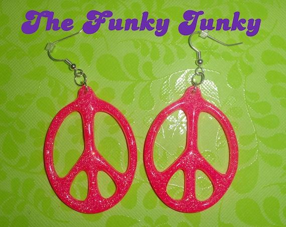 Peace Sign Earrings - Glitter Resin - Neon Hot Pink - Oval Shape