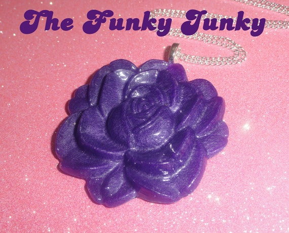 Purple Pearl Rose Resin Pendant