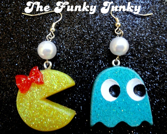 Ms. Pac Man & Ghost Earrings - Resin Glitter - Turquoise Blue