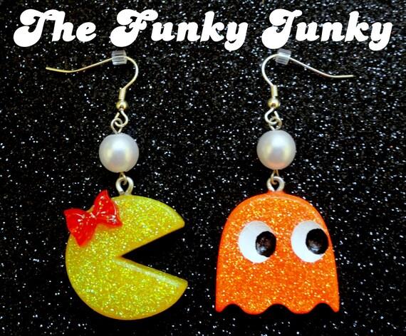 Ms. Pac Man & Ghost Earrings - Resin Glitter - Neon Orange