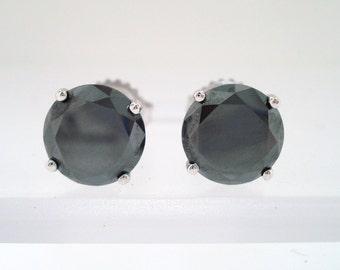 Fancy Black Diamonds Stud Earrings 14K White Gold 4.00 Carat Certified HandMade