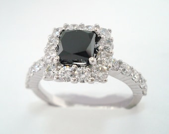 Platinum Princess Cut Black Diamond Engagement Ring 2.25 Carat handmade unique