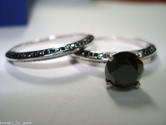 2 00 Carat Black Diamond Engagement Ring Wedding Band Sets 14K