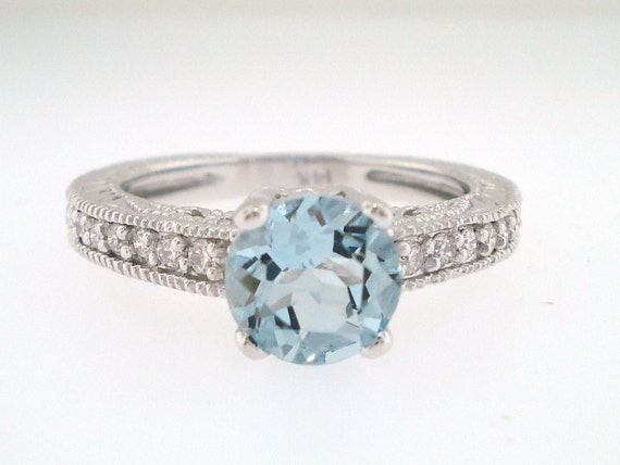 Aquamarine And Diamond Engagement Ring 14K White Gold 1.00 Carat HandMade Antique Style Engraved Certified