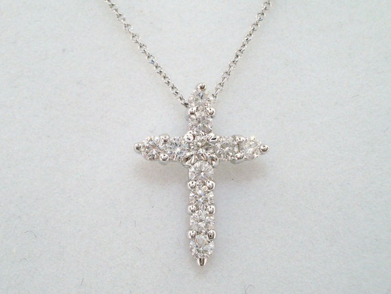 18K White Gold Cross Diamond Pendant Necklace 0.65 Carat HandMade