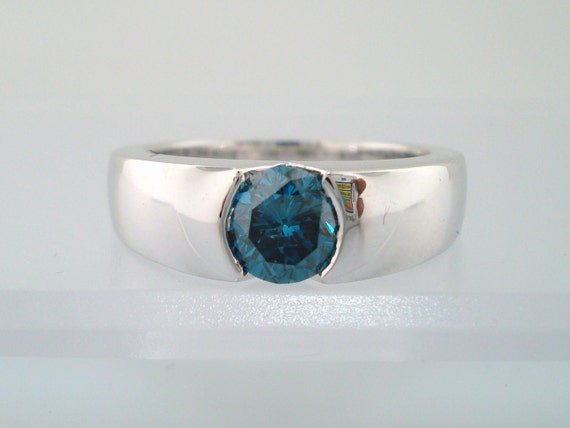 Fancy Blue Diamond Solitaire Engagement  Ring 14K White Gold 0.95 Carat HandMade