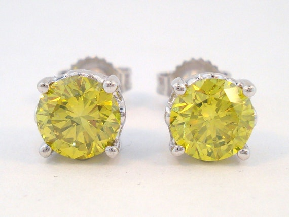 Fancy Yellow Diamond Stud Earrings 14K White Gold 1.70 Carat  VS1 HandMade