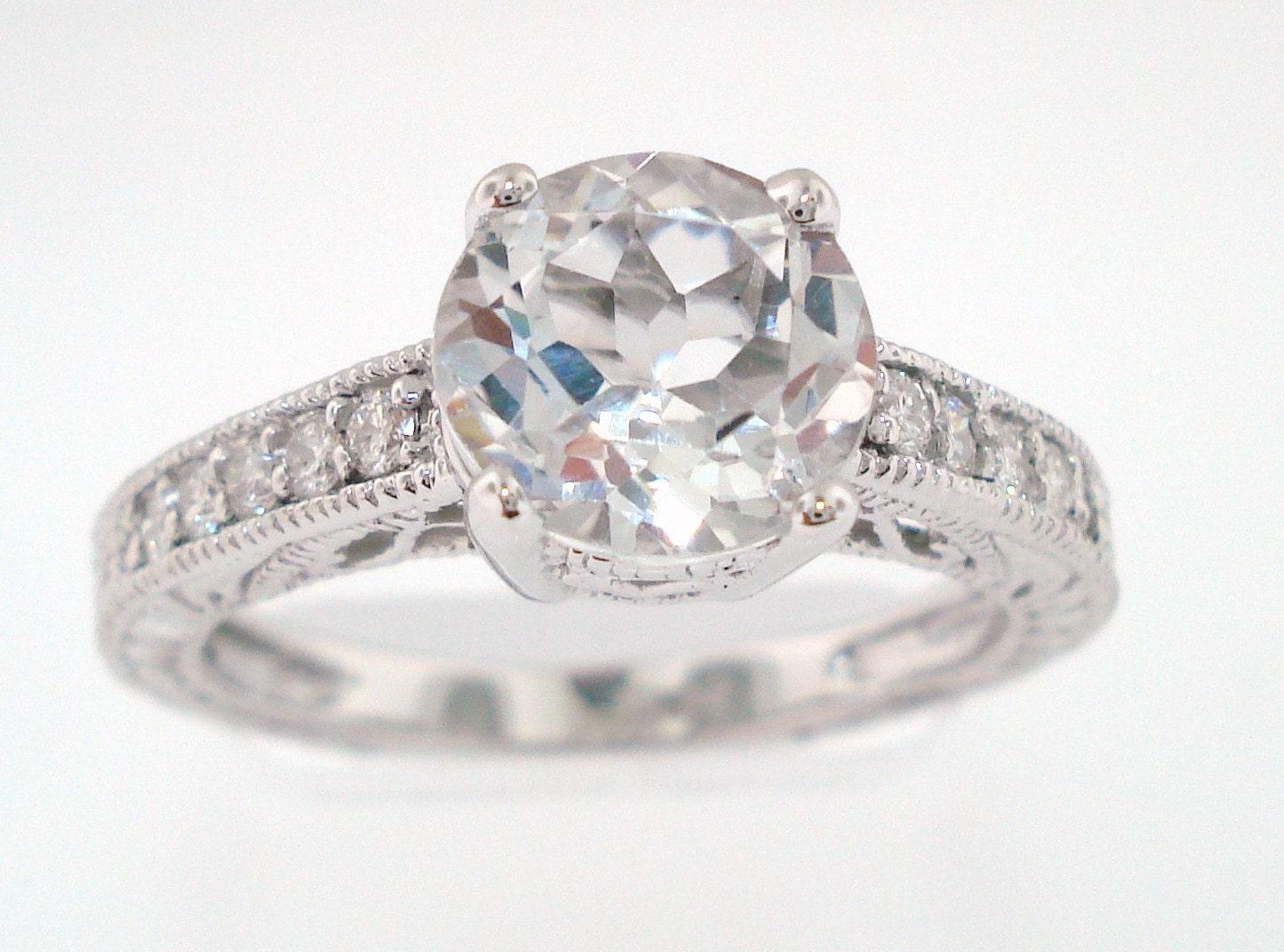 2 02 carat white topaz engagement ring 14k white