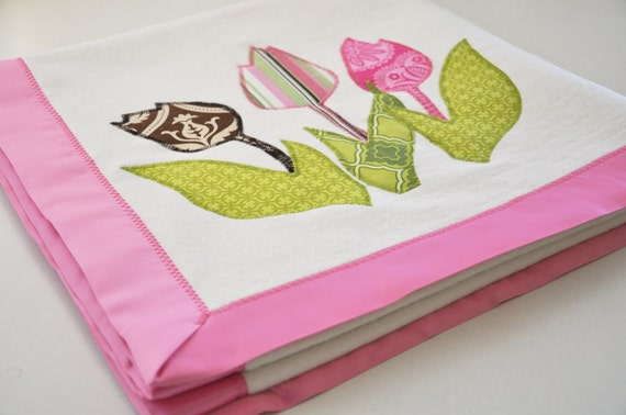RESERVED -- Organic Tulip Baby Blanket for Baby Girl -- Personalized Free -- New Baby Size