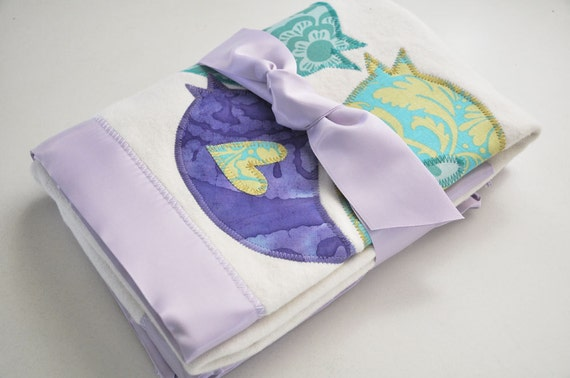 Organic Retro Bird Baby Blanket for Baby Girl-- Personalized Free -- Purple and Turquoise