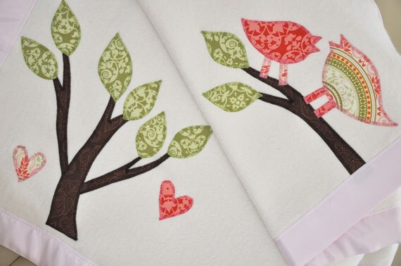 Organic Baby Blanket -- Personalized Free -- Toddler Blanket with Tree and Retro Birds