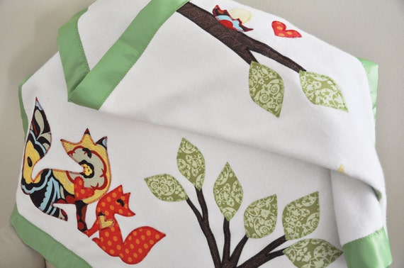 RESERVED -- Organic Woodland Animal Baby Blanket -- Fox, Birds, Tree of Life -- Personalized Free