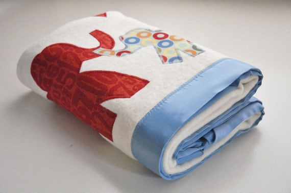 Organic Elephant Baby Blanket in Boy Blue and Red - Personalized Free