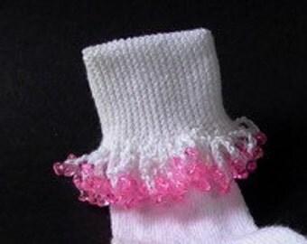 Beaded Girl's  Pink/White Bobby Socks