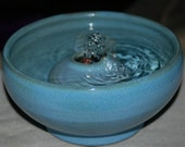 "Handmade Ceramic Cat Fountain or Indoor Tabletop Fountain ""Green-rimmed Sky-blue"""