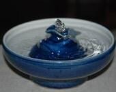 "Handmade, Food-safe, Ceramic Cat Fountain, ""Little Blue Flower"""