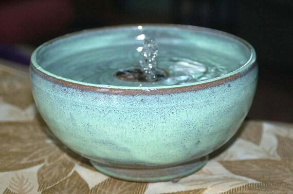 handmade ceramic cat drinking fountain or tabletop fountain Celadon On Tan