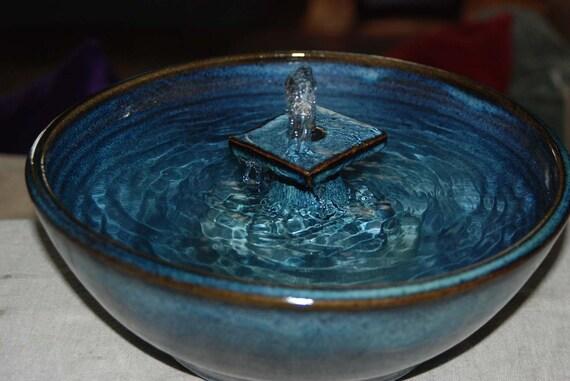 "Handmade, Food-safe, Ceramic Cat Fountain ""Midnight Watertable"""