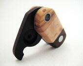 handmade wood locket, pendant, modern, unisex, woodgrain - Trio
